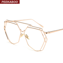 Peekaboo High quality vintage flat top polygon glasses clear lens men women fashion gold metal frame eyeglasses oversized black