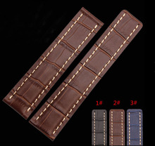 Watch band 22mm 24mm New Mens Top Grade quality Blue Brown Black Crocodile Pattern Genuine Leather Watch Strap Bracelets