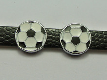 20 Alloy Enamel Soccer Ball Slide Charms Fit 8mm Wristband Belt Pet Collar(China)