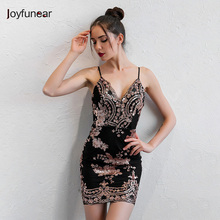Joyfunear Women V Neck Sheath Sequined Mini Party Dress Bodycon Sleeveless Vestidos Sexy Summer Dresses Club Short Wear(China)