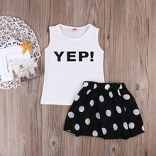 2016 NEW Toddler Kids Newborn Baby Girls Clothes Tank Tops Dot Skirt Little Girl Dress Children Clothes 2pcs Set