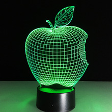 Home Decor 1Piece 3D APPLE NIGHT LAMP Acrylic Wood Mood Lamp Bulbing Light For Bedroom(China)