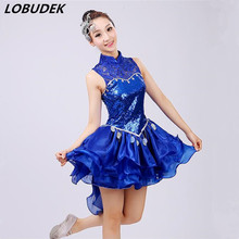 Blue Dress Sexy Lace Flash Sequins jazz Modern dance Stage costumes female Teams stage performance dress Cheering squad Bar show(China)