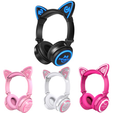 Fashion Stylish Cat Ear Headphones for Computer Games Headset Earphone with LED light For PC Laptop Computer Mobile Phone(China)