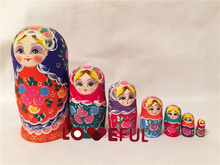 New Quality 7 Pieces Of Big Eye Girls Beautiful Wooden Russian Nesting Dolls for Kids' Gifts Toy(China)