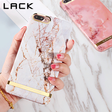 LACK Glossy Marble Phone Case For iphone 7 Case Fashion Chic Gold Bar Back Cover Hard PC Cases For iphone7 7 Plus Fundas Coque(China)