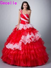 Red White Two Tones Ball Gown Quinceanera Dresses Gowns With Jacket Colorful Princess Tiered Organza Corset Sweet 16 15 Dresses(China)