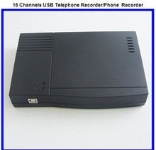 16 lines Analog Telephone USB port recording box / phone recording system