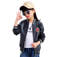 Kids Pu Jackets For Girls Outerwear Faux Leather Coats Cartoon Motorcycle Street Wear 4 6 8 10 11 12 Years School Baseball Tops