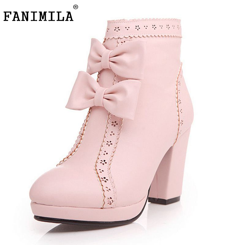 New Fashion Women Warm Snow Boots Winter Women Riding Boots Female High Heels Womens Boots Bowknot High Boots Size 33-43<br>