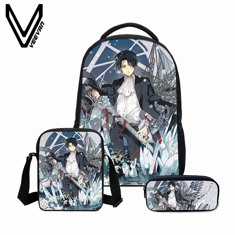 VEEVANV Attack on Titan Printing Backpacks Fashion 3PCS/SET Combination BagsTeenager School Bookbag Cartoon Mochila Shoulder Bag<br>