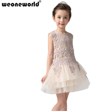 WEONEWORLD New Fashion Flower Girl Embroidery Dresses Princess Girl Dancing Dress Spring Summer Sleeveless Children Clothes(China)