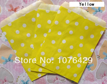 25 Pcs Yellow Polka Dot Treat Craft Bags Favor Food Paper Bags Party Wedding Birthday Decoration Color 6
