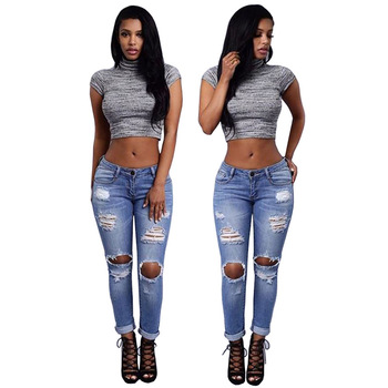 Women Sexy Skinny Boyfriend Ripped Jeans Pants Female Hole Pencil Pants Stretchy Tight Jeans Denim Pants Long Trousers YF258