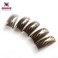 New 70pcs French Nails Classic Black Brown Airbrush Design Half Cover French Nail Tips Long False Nail Art Tips ABS Fake Tips(China)
