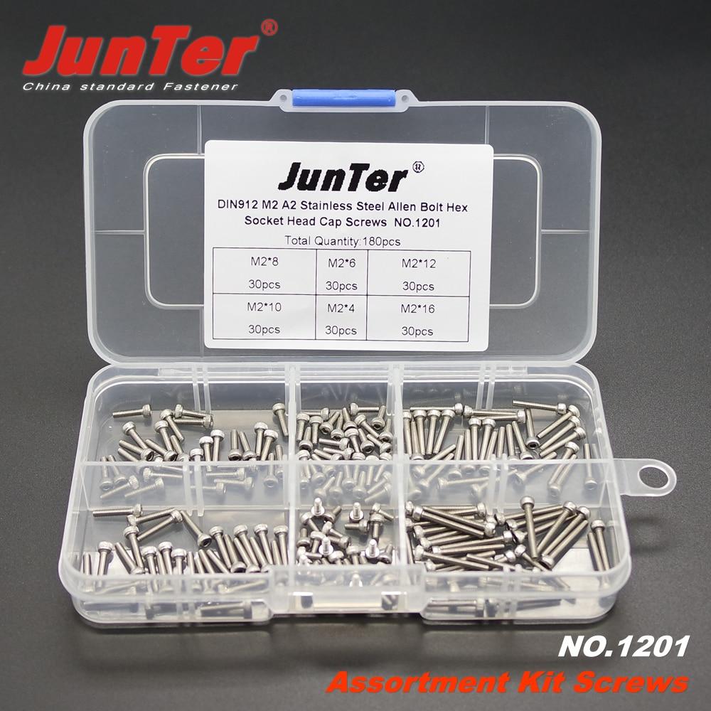 180pcs M2 (2mm)  A2 Stainless Steel DIN912 Allen Bolts Hex Socket Head Cap Screws Assortment Kit NO.1201<br><br>Aliexpress