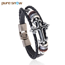 New Korea Retro Multilayer PU Woven Leather Bracelet Cross Beaded Bracelet Bangle Jewelry Wholesale Influx Of Men And Women Gift