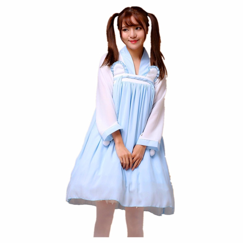 Shanghai Story Chiffon Lolita Chinese Han Dynasty Sweet Maid Clothing Cosplay Costume For Girl Halloween Women Maid Costume(China (Mainland))