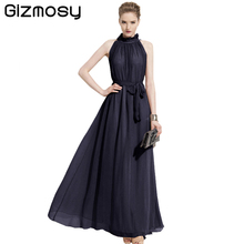 Buy Gizmosy Vestidos Women Dress Sexy Elegant Bohemian Beach Summer Dress Fairy Hang-Neck Chiffon Halter Long Dresses SY191
