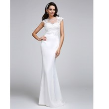 Buy LAN TING BRIDE Mermaid / Trumpet Illusion Neckline Wedding Dress Floor Length Satin Bridal Gown Appliques Button for $99.44 in AliExpress store