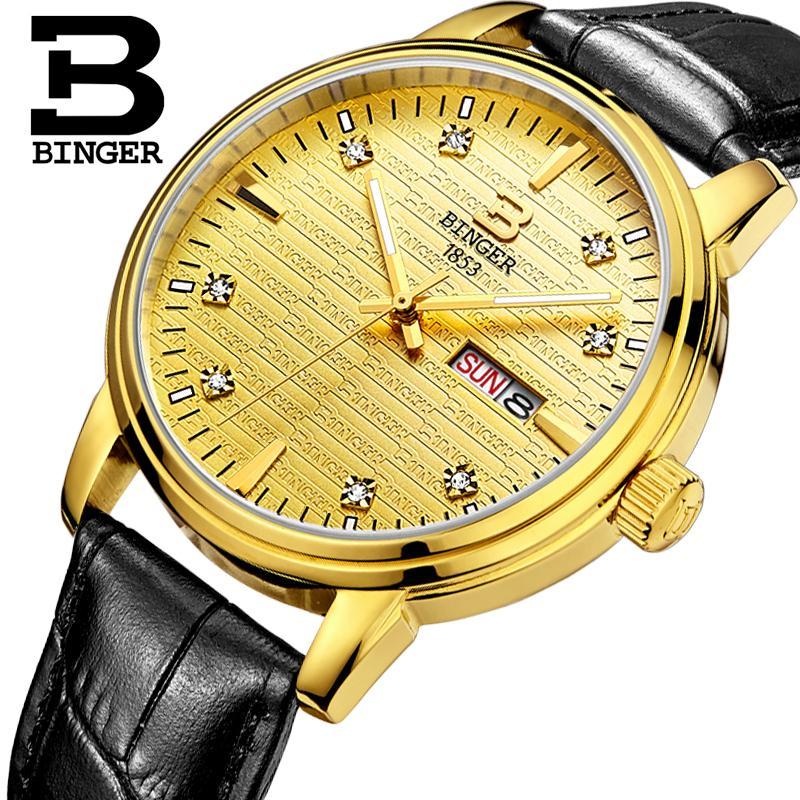 Switzerland mens watch luxury brand Wristwatches BINGER ultrathin Quartz clock leather strap glowwatch B3036-3<br>