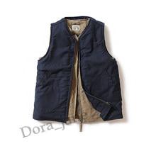 WW2 USN Mens Navy Fleece N-1 Vest Vintage Thick Winter Wool N1 Riders Waistcoat Woolen Sleeveless Cotton Jacket Military Uniform