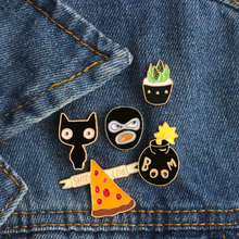 Black Face Plant Cat Vintage Collar Pin 5 Pcs Factory Direct Sales Fashion Collar Clip Jewelry Retro Brooches Woman Shirt Pins(China)
