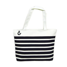 R1 Hot Sale, Fashion Canvas Bags Black Anchor Pattern Shopping Shoulder Bags Women Handbag Casual Beach Bolsa for Girls