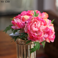 Big 1 bouquet 5 heads artificial silk peony bouquet wedding decoration mariage roses party Christmas home decoration accessories