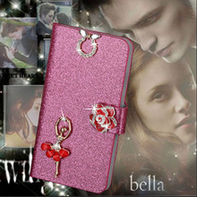 Luxury PU Leather Wallet Case For Lenovo A328 A328T Flip Cover Shining Crystal Bling Case with Card Slot & Bling Diamond
