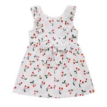 Girl Dresses Small Cherry Printing Tied Bow Tie Sleeveless Vest Dress Princess Dress(China)