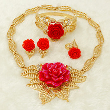 Liffly Fashion Charm Yellow Red Bride Jewelery African Italian Rose Necklace Jewelry Set Women Wedding Crystal Gold Accessories(China)