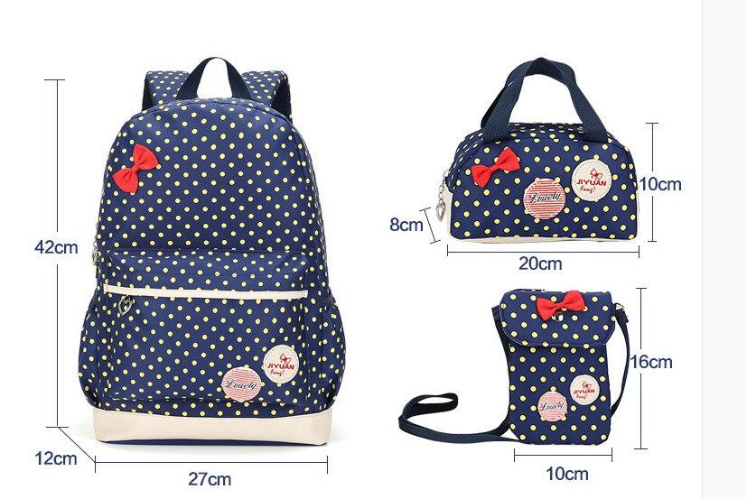 حقائب مدرسية بالوان مختلفة 3 قطع 1
