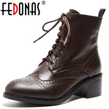 FEDONAS Fashion Brand Women Ankle Boots Lace Up Genuien 가죽 두꺼운 (High) 저 (힐 마틴 Shoes Woman 2019 Short Basic Boots(China)
