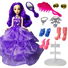 30CM Princess Dolls Beauty Curly Hair for Barbie Fashion Toys Joint Moving Body Variety Thick color hair Birthday Girl Gift doll(China)