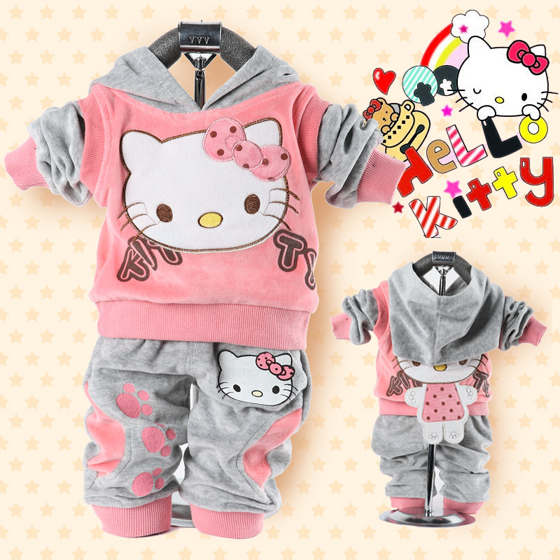 Retail Hello Kitty Baby Girl Clothing Set for Winter and Autumn, Velvet Fashiton suits for Kid 1-3 years, free shipping<br><br>Aliexpress