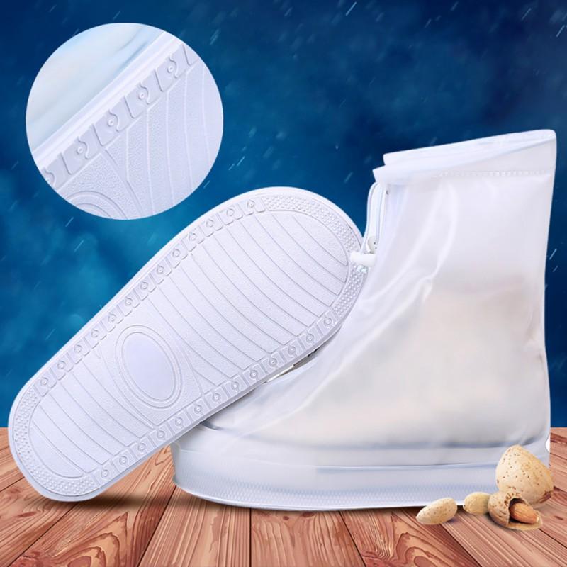 1pair Waterproof Protector Shoes Boot Cover Unisex Zipper Rain Shoe Covers High-Top Anti-Slip Rain Shoes Cases S-XXXL 1