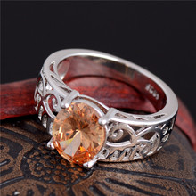 Atreus Promotion 1PC Hollow Yellow CZ Flash Silver Color Gorgeous Woman's Ring Size 7 8 9(China)