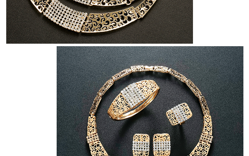 AYAYOO Women Jewelry Sets Dubai Earrings Bracelet African Beads Jewelry Set 2018 Nigerian Wedding Gold Color Jewellery (2)