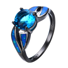 Antique Claw Rings Ocean Blue Fire Opal Stone Light Blue Stone Jewelry Women/Men Engagement Band Black Gold Filled Wedding(China)