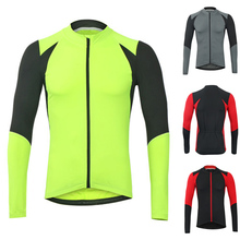 Spring Autumn Men Splice Color Quick Dry Bicycle Wear Shirt Breathable Long Sleeve Fitness Man Tops Cycling Clothing B2Cshop(China)