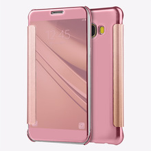 Mirror Case For Samsung Galaxy C5 C5000 Phone Cases Luxury Smart Leather Flip Cover For Samsung C5 SM-C5000 With 6 Colors