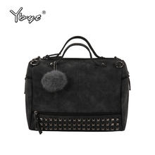YBYT brand 2017 new fashion casual women handbag hotsale ladies large capacity solid rivet bag shoulder messenger crossbody bags(China)