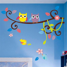 hot selling wonderful owl tree wall decals zooyoo1006 waterpoof diy cartoons animal wall stickers baby room home decorations(China)