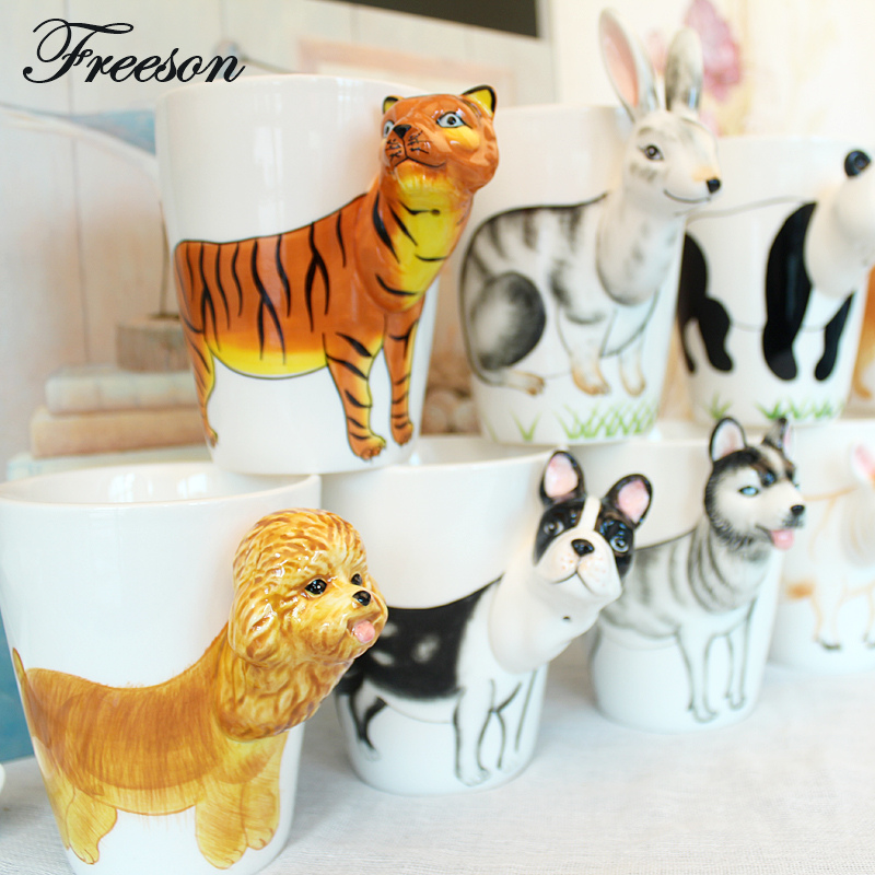 Mighty Ceramic Coffee Milk Tea Mug Creative Gift 3D Animal Shape Hand Painted Deer Giraffe Cow Rabbit Dog Cat Camel Elephant Cup(China)