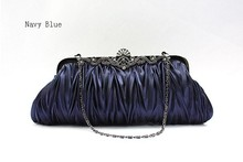 Fashion Navy Blue Ladies' Satin Clutch handbag Evening Bag Banquet Party Purse Makeup Bag Free Shipping 7385-J(China)