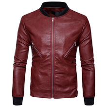 High Quality Creative Autumn Winter Clothing New Winter Fashion Leather Jacket Lapel Pocket Zipper Double Men(China)