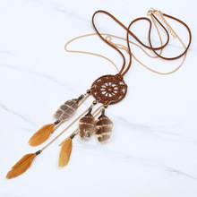 2017 New Fashion Women Coffee Crochet Cricel Feather And Chain Tassel Vintage Pendant Necklace Jewelry Bohemian Dreamcatcher