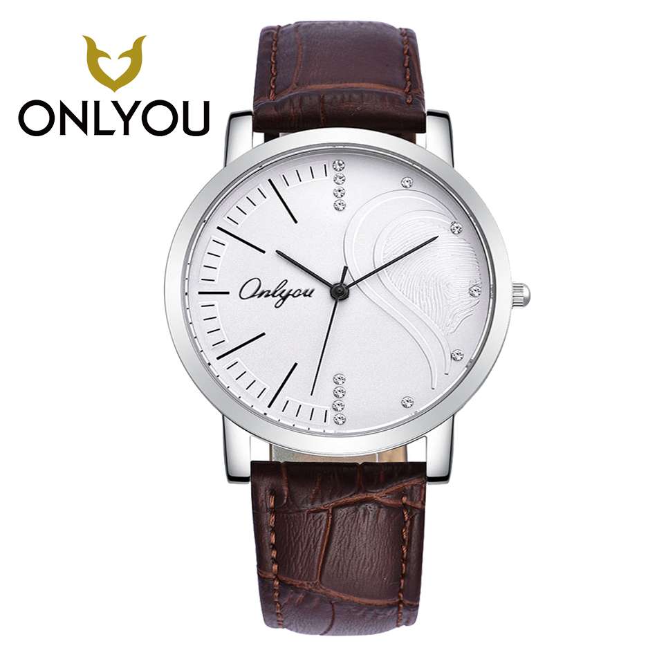 ONLYOU Brand Fashion Watches Luxury Couples Watch Leather Ladies Watches  Rhinestones Waterproof Quartz Wristwatch<br>