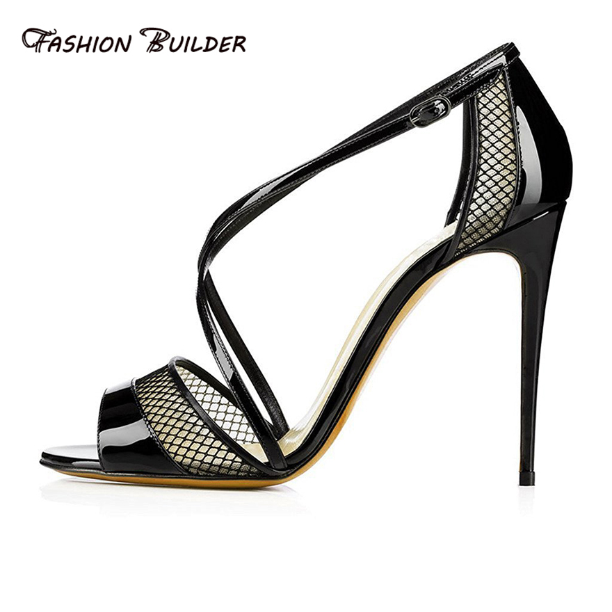 Women Sandals 2016 Fashion Summer Peep Toe Criss Cross Buckle Strap High Heels Sandals Sexy Black Stiletto Party Dress Shoes<br><br>Aliexpress